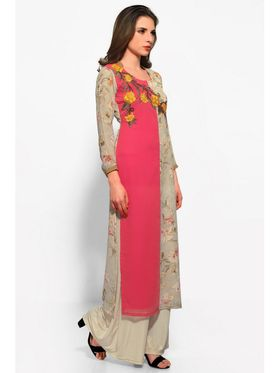 Pink and Beige Georgette Embroidered Kurta_AY-KR-HRC-704