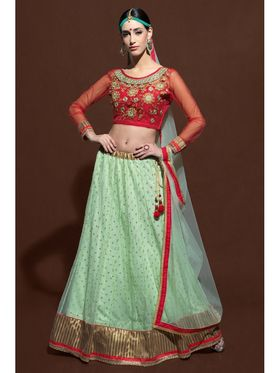 Pista Green Net Lehenga with Embroidered Choli and Net Dupatta_AY-LH-SWR-10002