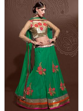 Green Net Embroidered Lehenga Choli with Net Dupatta_AY-LH-SWR-10004
