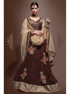 Brown Net Embroidered Lehenga Choli with Net Dupatta_AY-LH-SWR-10005