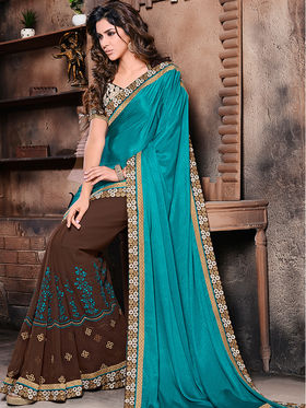Blue and Brown Chinnon Georgette Embroidered Saree with Embroidered Blouse Piece_AY-SR-AK-3201