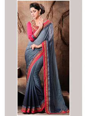 Grey Satin Lace Border Saree with Embroidered Blouse Piece_AY-SR-AK-3209