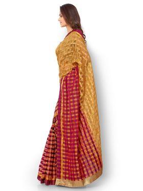 Admyrin Kota Check Saree with Brocade Blouse Piece-ays02