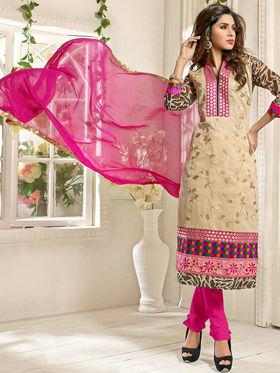 Adah Fashions Chanderi Embroidered Semi Stitched Salwar Kameez - Multicolour - 639-7001