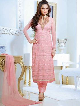 Adah Fashions Georgette Embroidered Semi Stitched Suit - Light Pink
