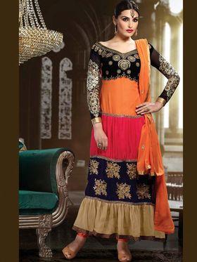 Adah Fashions Georgette Embroidered Anarkali Suit - Multicolor - 659-1002