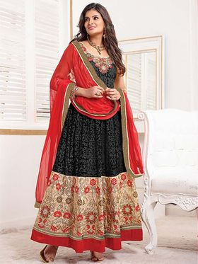 Adah Fashions Net & Brasoo Embroidered A-Line Salwar Suit - Black & Beige - 672-1208