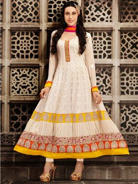Adah Fashions Georgette Embroidered Anarkali Suit - Off White - 679-10005