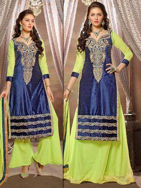 Adah Fashions Velvet Embroidered Semi Stitched Lehenga - Blue - 713-2002