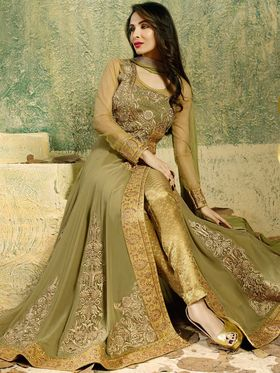 Adah Fashions Georgette Embroidered Semi Stitched Suit - Mehendi