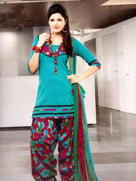 Adah Fashions Designer Cotton-Silk Dress Material - Turquoise-148-308