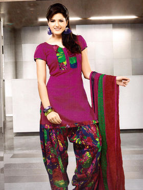 Adah Fashions Designer Cotton-Silk Dress Material - Purple