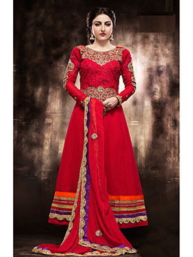 Adah Fashions Embroidered Georgette Semi-Stitched Anarkali Suit - Red - 439-1025