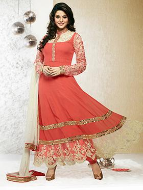 Adah Fashions Embroidered Georgette Semi-Stitched Anarkali Suit - Orange - 357-40012