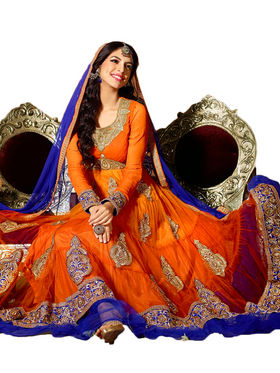 Adah Fashions Net Embroidered Semi Stitched Designer Suit - Orange