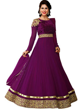 Adah Fashions Chiffon Embroidered Semi Stitched Designer Suit - Purple