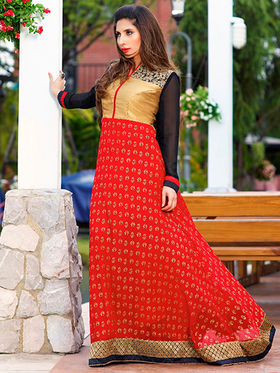 Adah Fashions Georgette Embroidered Semi Stitched Suits - Red