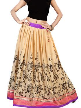 Admyrin Georgette Printed Skirt - Beige_RG4-552