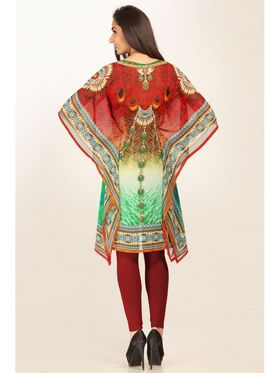 Admyrin Georgette Printed Kaftan - Red & Green_AY-KR-V15-1352