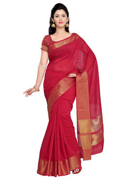 Admyrin Cotton Silk Plain Saree - Red - ADM-SR-SNH-10003