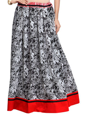 Admyrin Georgette Printed Skirt - Black and White - AY-SKI-RG6-589