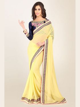 Admyrin Georgette+Satin  Printed Saree -  Light Yellow - 16008