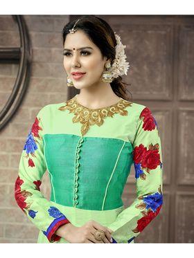 Viva N Diva Semi Stitched Cotton Embroidered Suit Amigo-12008