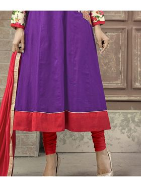 Viva N Diva Semi Stitched Cotton Embroidered Suit Amigo-12011
