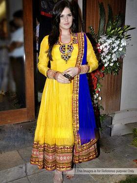 Arisha Georgette Embroidered Semi-Stitched Anarkali Suit - Yellow-1023