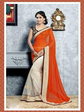 Arisha Net Embroidered Saree - Orange And OffWhite