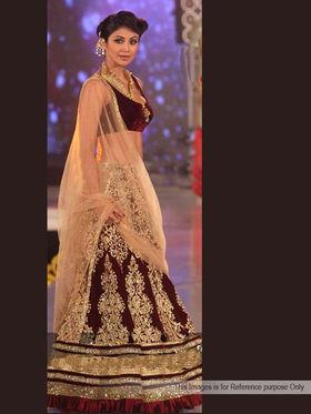 Arisha Velvet Embroidered Lehenga - Maroon & Golden