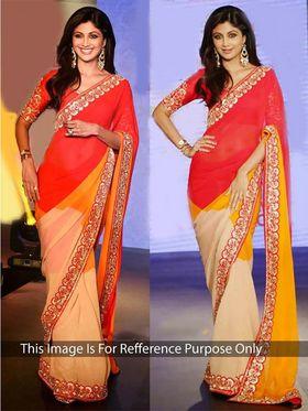 Arisha Georgette Embroidered Saree - Red Orange and Beige