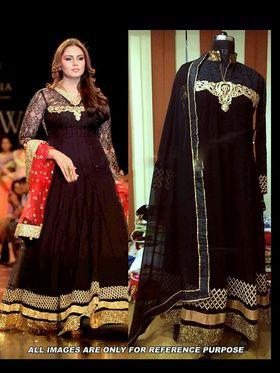 Arisha Georgette Embroidered Semi-Stitched Anarkali Suit - Black - 6104