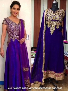Arisha Georgette Embroidered Semi-Stitched Anarkali Suit - Blue - 6116
