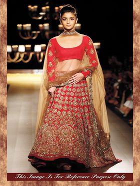 Arisha Georgette Embroidered Semi-Stitched Lehenga - Red And Beige