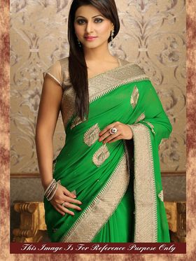 Arisha Georgette Embroidered Saree - Green - 7016