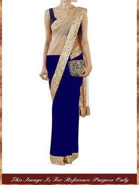 Arisha Net-Georgette Embroidered Saree - Blue And Beige