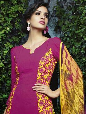 Arisha Enterprises Pure Cotton Embroidered Dress Material - Pink - ARA408