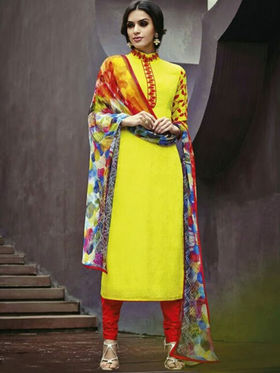 Arisha Enterprises Pure Cotton Embroidered Dress Material - Yellow - ARA415