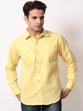 Bendiesel Plain Linen Full Sleeves Shirt - Yellow