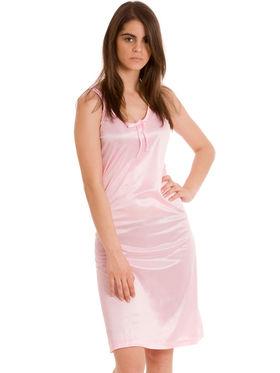 Set Of 2 Being Fab Satin Lycra Solid Nightwear -fbl01