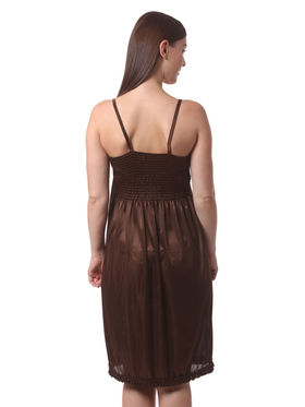 Set Of 3 Being Fab Satin Lycra Solid Nightwear -fbl37