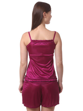 Set Of 4 Being Fab Satin Lycra Solid Nightwear -fbl27