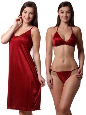 Set Of 3 Being Fab Satin Lycra Solid Nightwear -fbl42