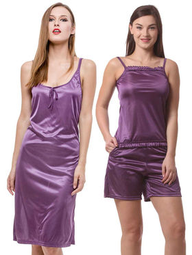 Set Of 3 Being Fab Satin Lycra Solid Nightwear -fbl21