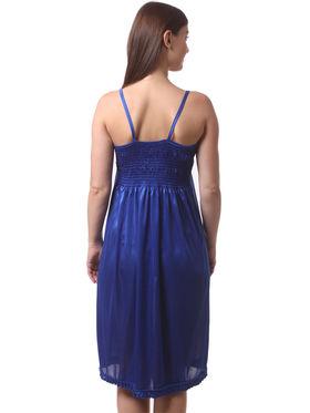 Set Of 2 Being Fab Satin Lycra Solid Nightwear -fbl11