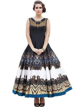 Styles Closet Embroidered Pure Bhagalpuri Semi-Stitched Black Suit -Bnd-10018