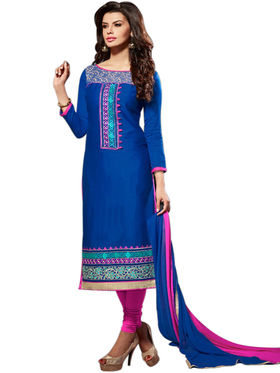 Styles Closet Embroidered Pure Cotton Unstitched Blue Dress Material -Bnd-5005