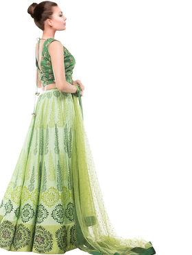 Styles Closet Printed Banglori Silk Semi Stitched Lehenga Choli-Bnd-7012