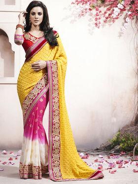 Bahubali Crepe Jacquard Embroidered Saree - Yellow